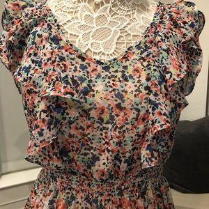 Floral satin lined dress